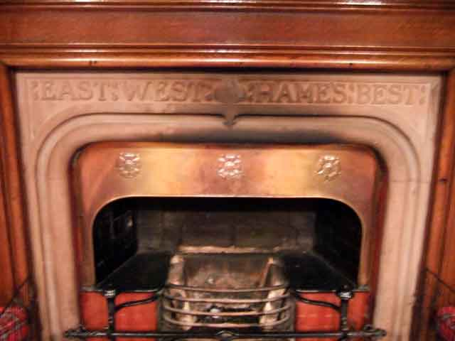 a traditional message over this fireplace