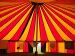 The weeks of rain broke for a wonderful week at the Big Green Gathering high on the hills of the Mendips in Somerset. Great music, great people, great chat. Here, what a colourful tent, this in the Spirit field