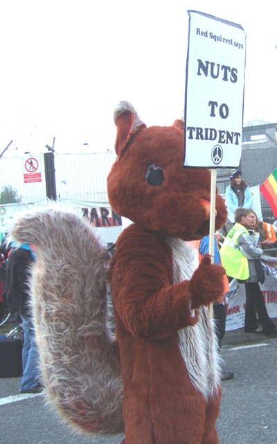 someone did suggest later that next time we should all come dressed as squirrels - what would the police do/look like arresting hundreds of red squirrels? an endangered species too - and think of the photo opportunities - this one did get arrested!