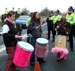 drummers & all the queens horses and all the queens police men (& women) & police cyclists etc As usual overkill, 10 police to a demonstrator if you count the ones sitting in the vans, guarding the perimeter, buzzing around the base and on the A59