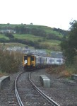 Our special train, 'Missing Link II' arriving at Colne after crossing the viaduct