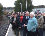 the passengers watching it come in. In the background the buffers - that's the way when the railway is reopened the trains will go on their journey to Skipton giving East Lancashire access to West Craven, the Skipton - Morecambe, Settle - Carlisle, Skipton - Bradford and Skipton Leeds lines