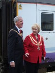 The two Mayors, Councillor Alan Buck Mayor of Pendle and Councillor Carol Manley, Mayor of Skipton, united in wanting to see the line reopened - they joined us for the journey