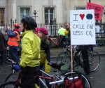 Many of the placards and banners highlighted the benefits of cycling - this about reducing carbon dioxide emissions
