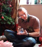 matthew & his crystal ball - Alison got us all to chose our worst present - this was matt's