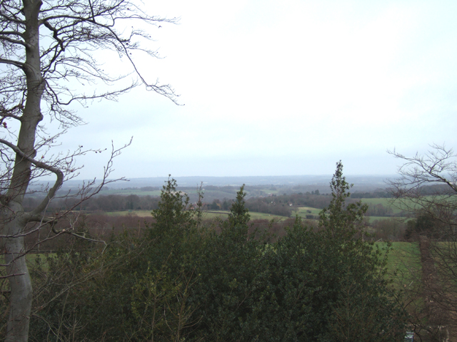the view is out over Robertsbridge towards Bodiam Castle and the Weald