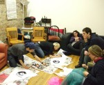 The night before - preparing flags at LARC       (London Action Resource Centre)in Whitechapel under Cara's guidance