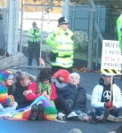 amongst this group of protesters also at the West Gate is veteran anti-nuclear campaigner Pat Arrowsmith who in the 1960's had over 150 previous convictions - I wonder what it stands at now?