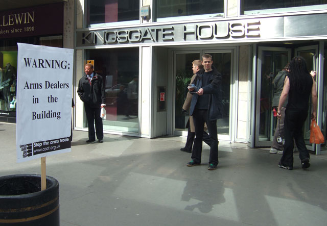 Then on the Monday before the G20, Campaign Against the Arms Trade leafletted outside the offices of the Department for Trade & Industry in London. Why? - because arms dealers were inside meeting with Government officials
