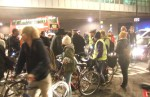 a bit of a conflab at the roundabout - it gradually dawned on the police concerned it would cause less congestion if they just let us go on our way! Enjoy the freedom of a 'Critical Mass' (as approved by a House of Lords ruling), last Friday of every month 6/7pm under Waterloo Bridge, South Bank For more click here