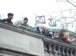 the march assembled on the Embankment where some chose to view proceedings from on high