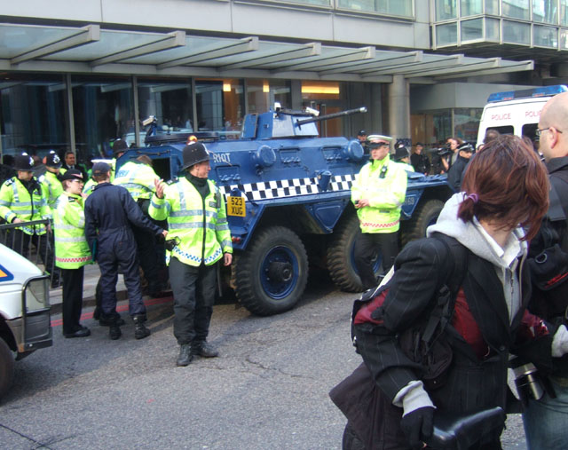 a riot police tank - apparently it had arrived there filled with 10 anarchists