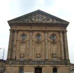 and here's the splendid Town Hall which found a simple solution to the problem of where they belonged. The River Calder was the historic boundary between Lancashire and Yorkshire - so they built the Town Hall slap bang across it with the boundary going right through the middle of the building.